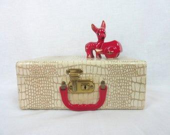 Vintage Child's Suitcase Train Travel Case Faux Crocodile with Mirror & Key
