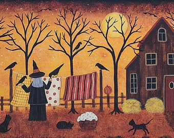 Folk Art Halloween Note Card, Witch Hanging Laundry,  Black Cats, Spooky Saltbox house