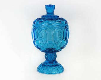 Vintage Cerulean Blue 'Moon and Stars' Covered Candy Dish (E8762)