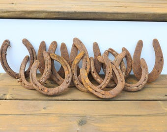 Rusty Lucky Horseshoes Lot of 12 Rustic Rusted Country Western Ranch Primitive Decor