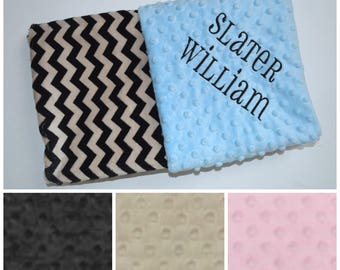 SALE Monogrammed Minky Baby Blanket, Tan / Taupe and Black Chevron - Zig Zag Personalized Newborn, Light Blue, Pink, Personalized Gift