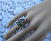Vintage Large Watermelon Tourmaline Wire Wrapped Ring-Size 5