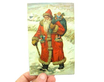 Santa Claus Postcard. Antique Christmas Greeting. Victorian Old World Santa. Ernest Nister, Dutton 1910's Printed in Germany Collectible.
