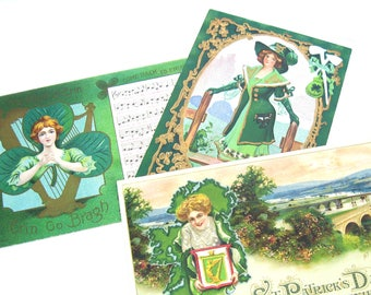 St Patricks Day Postcards. Pretty Irish Ladies, Romantic Song w/ Lyrics. Souvenir. Group of 3. Antique 1910s Scrapbook Supply, Collectibles