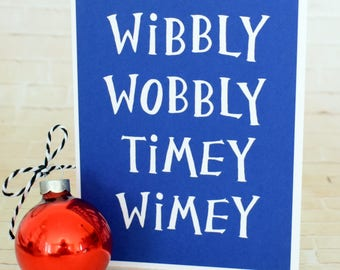 Handmade Greeting Card - Cut out Lettering - Wibbly Wobby Timey Wimey - blank inside- Dr. Who Inspired- Don't Blink- Birthday, Love