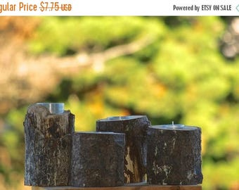 Back To School Sale set of 4 Rustic Candle Holder, wedding candle centerpiece Log Tealight candle holder Tree branch farmhouse decor country
