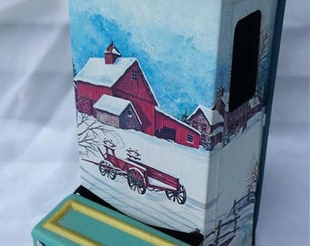 CHRISTMAS in JULY SALE Winter Farm House Barn Hanging Match Stick Holder
