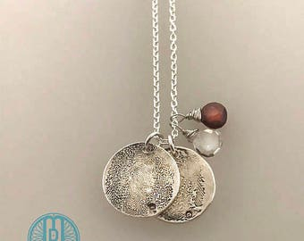 Children's FINGERPRINTS necklace with Birthstones, 2 fingerprints, Two children's fingerprint charms