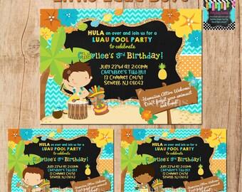 LITTLE LUAU BOYS  invitation - 3 to choose digital file