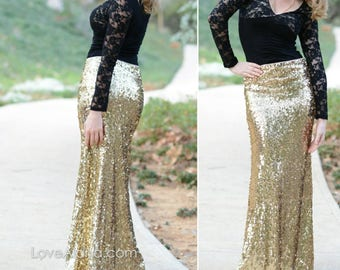 Ship 2/27* 10% OFF! Shiny Gold Maxi - Gorgeous high quality sequins- Long sequined skirt - S, M, L, XL (Handmade in LA!)