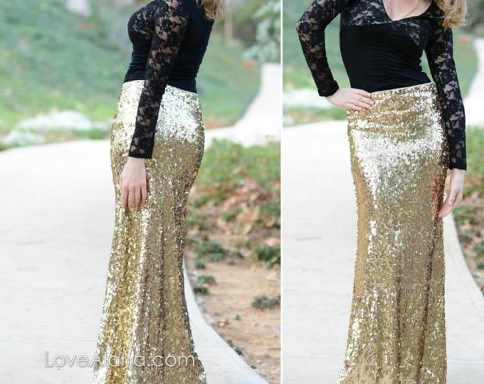 Free Shipping! Shiny Gold Maxi - Gorgeous high quality sequins- Long sequined skirt - S, M, L, XL (Handmade in LA!)