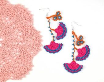 Crochet Earrings- Handmade Pink Blue Crochet Floral Dangle Earrings, Ethnic Earrings, Oya Earrings, Beaded Earrings, Bohemian Jewelry