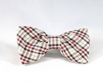 The Dapper Gent Classic Plaid Dog Bow Tie, Tan and Maroon