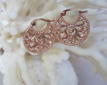 Rose Gold Ribbon Modified Tree of Life Disc Hoop Earrings
