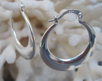 Round Sterling Silver Hoop Earrings
