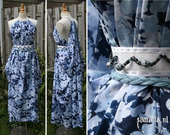 Shea Handmaiden / Grecian Dress - <READY TO SHIP> - one size - (Larp, Cosplay, Ren Faire, Festival) - Blue and white cotton with mixed beads