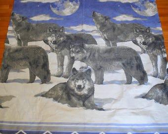 Vintage Blanket Wolves Howling at the Full Moon Fleece Felt Throw Boho Hippie Gypsy Bohemian Wild Vibes Wolfpack Hipster Southwestern Mod