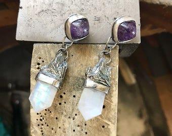 Ondine moonstone and amethyst drop earrings