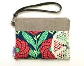 Navy Floral Wristlet with Vintage Doily & Leather Strap