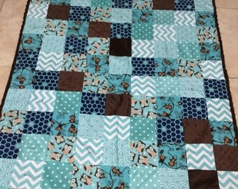 Flannel and minky baby blanket