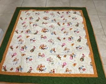 Nursery rhyme quilted baby blanket