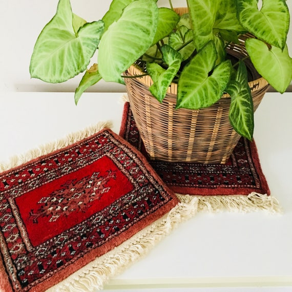 Vintage Maroon Oriental Carpet Set of 2 Miniature Wool Table Mat Rug Dusty Rose Moroccan Plant Coaster Boho Decor Placemat