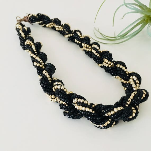 Vintage Black Beaded Necklace Black Gold Choker Jewelry