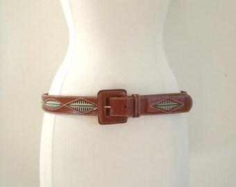 SALE Vintage leather tribal print belt / bohemian print brown leather belt