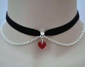 Red Glass Heart Velvet Chained Choker, 10mm Ribbon, Handmade, 16 Colours