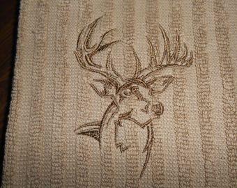 Kitchen Towel, Deer Embroidery, Deer with Antlers Towel, Beige Kitchen Towel, Hunters Cabin Towel, Kitchen Towel Embroidery,