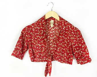 Vintage 1970s Floral Cropped Shirt size Small