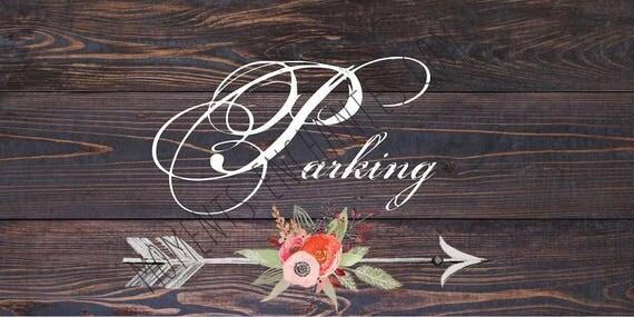"""Panneau mariage Baptême Bohème nature campagne """" Parking """""""