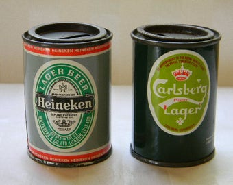 2 Vintage Beer Advertising Banks, Heineken, Carlsberg