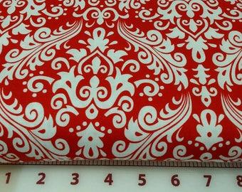 Red on White Hollywood Med Medium Damask Fabric Riley Blake C830-80 RBDMHT