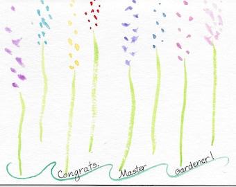 Master Gardener Graduation Card Original Watercolor Master Gardener Card Congrats Card Abstract Flowers Multicolored Flower Card