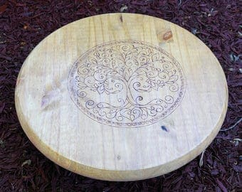 Wrought iron look wood burned Tree of Life altar
