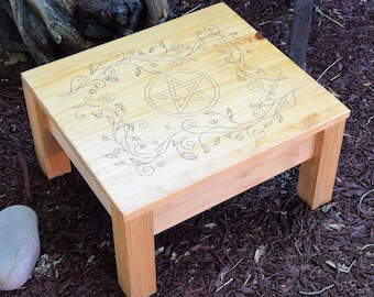 Square wood burned altar with pentacle and vines