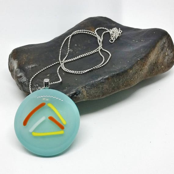Turquoise Traingle Glass Pendant with Silver Chain