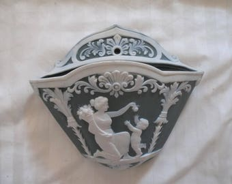 Lovely Antique c1900 VICTORIAN JASPERWARE Wall Pocket. Grecian woman teasing with a little putti child
