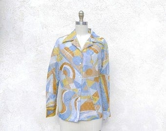 1/2 Off SALE Vintage 70s Psychedlic Blouse, Sheer Pastel Shirt