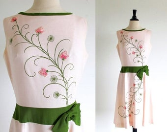 1/2 Off SALE Vintage Pink 60s Dress, Sleeveless  Flower Frock, Cover Girl