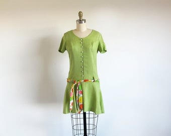 1/2 Off SALE Vintage Green Dress, 60s Mod Dress, 1960 Mini Dress, Lime Green Dress, Drop Waist, Sweet Sixties