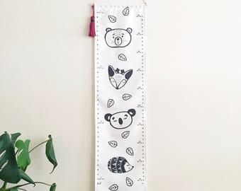 NEW! Fabric height chart - Kids wall hanging growth chart - Removable - Woodland Animals - Echidna Koala Reindeer Bear Leaves