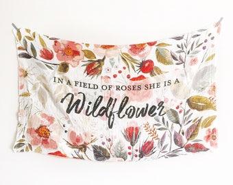 Handmade muslin swaddle baby wrap - organic double gauze - In a field of roses she is a wildflower