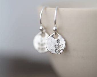Tiny Leaf Earrings Sterling Silver | Clothing Gift | Handmade Jewelry | Hand Stamped Jewelry Gift for Her | Small Silver Dangle Earrings