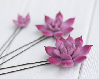 3 pcs Purple Pink Succulent Hair Pins Hairpin Set Polymer Clay Bobby Pins Decoration Accessory Women Handmade Decoration Wedding Bridal Hair