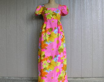 Vintage 70s Maxi Dress POSY PETAL POWER