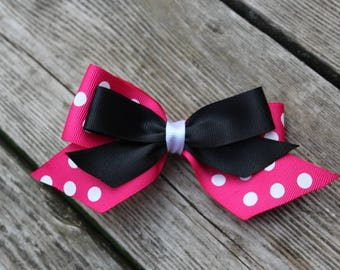 Minnie Mouse Hair Clip - Pink and Black Minnie Mouse Inspired Hair Clip
