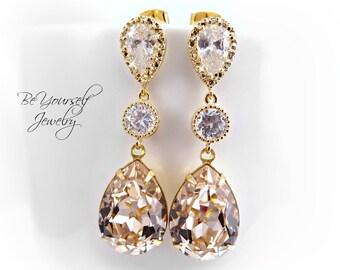 Champagne Bridal Earrings Gold Pastel Teardrop Bride Earrings Swarovski Crystal Light Silk Wedding Jewelry Sterling Silver Bridesmaid Gift