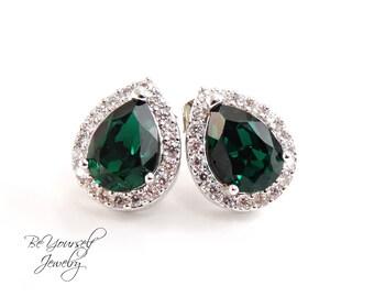 Emerald Bridal Earrings Green Stud Bride Earring Wedding Jewelry Swarovski Crystal Emerald Teardrop Cluster Earring Green CZ Bridesmaid Gift